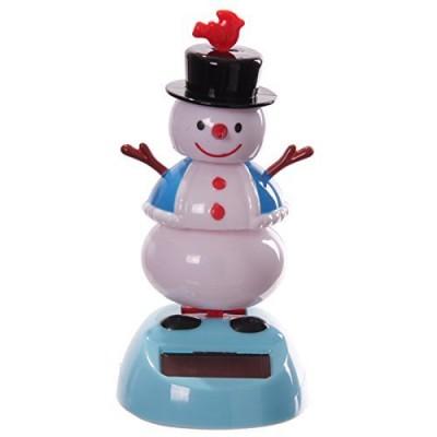 Snowman With Bird On Hat Solar Dancer