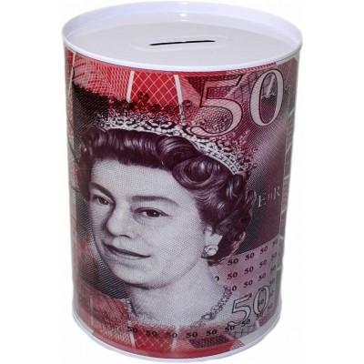Saving tin with £50 design.